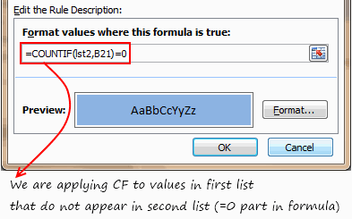 Conditional Formatting Formula to Compare 2 lists in Excel