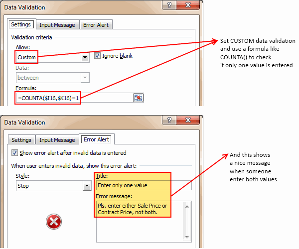 Data Validation Settings for Either Or Input condition in Excel