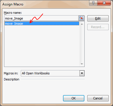 Assign Macro to Rounded Rectangle Shape so that the Position is adjusted whenever you click on it