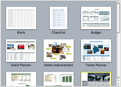 iwork Numbers templates