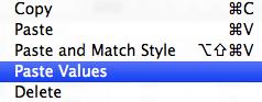 Paste options in iWork Numbers