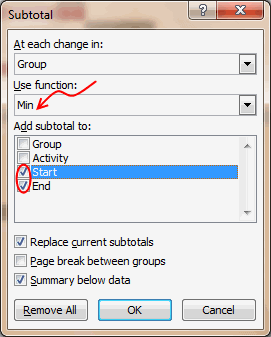 Edit Subtotal Settings for Project Plan