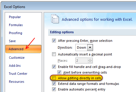 How to disable direct editing mode in Excel - tip