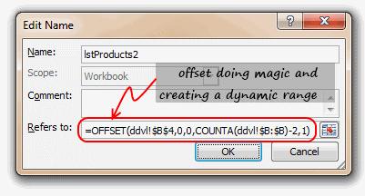 dynamic named range thru OFFSET formula - Excel