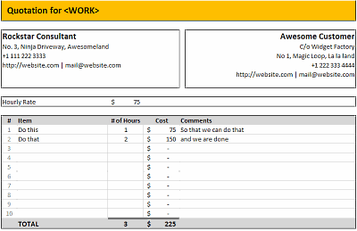 Excel Quote Template - Hourly Billing Quotation Template in MS Excel