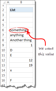 Lookup first non blank cell using Excel formulas