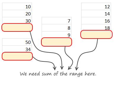 autosum-multiple-ranges