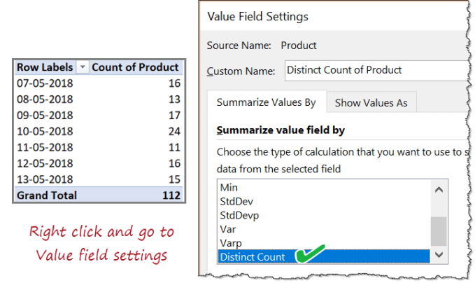 Distinct count option in Excel Pivot Table value field settings