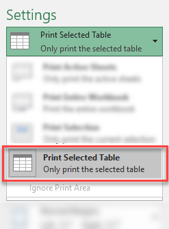 Print Selected Excel Table only - Print Settings