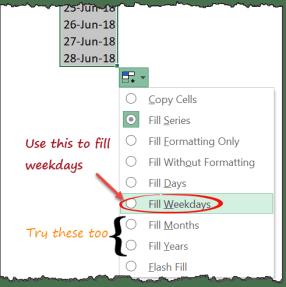 Fill weekdays when entering days