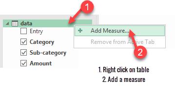 add measure option - excel pivot tables