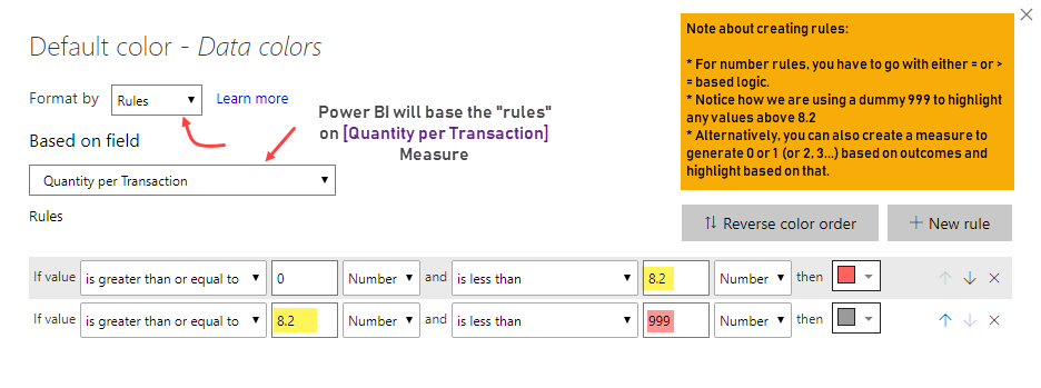 Adding rule based conditional formatting - example