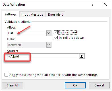 Excel Data Validation - Drop-down settings