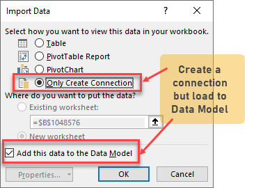Load data to Data Model in Excel