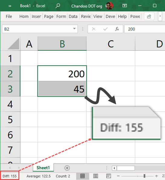 Show difference of selected cells in Excel Status Bar using VBA