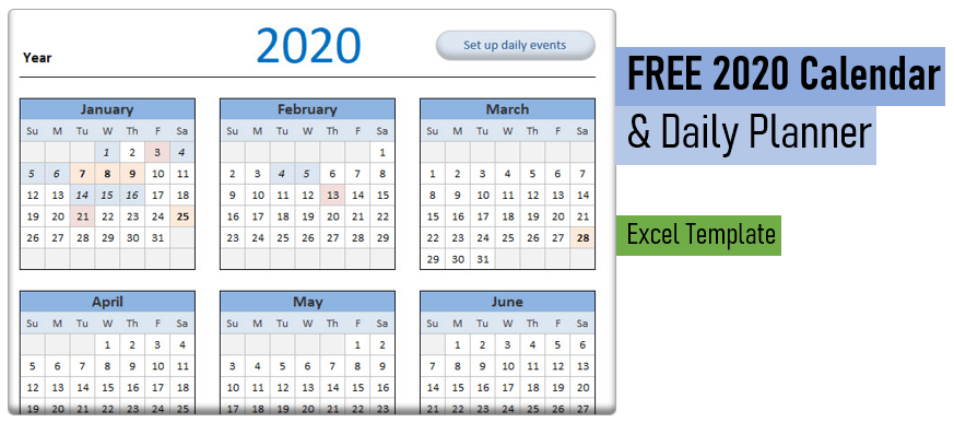 2020 Calendar & Daily Planner - Free Excel Template