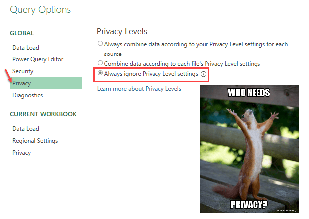 Power Query - Privacy setting (Query editor > File > Query options)
