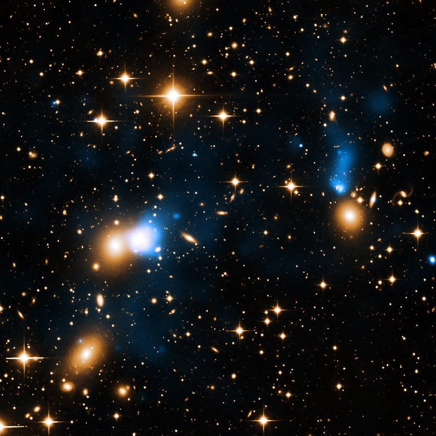 A gigantic tail of X-ray emission has been found behind a galaxy plowing through the galaxy cluster Zwicky 8338.