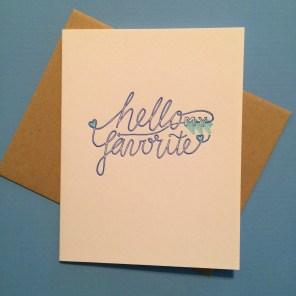 """Hello"" Card Handmade by Bunny Bear Press"