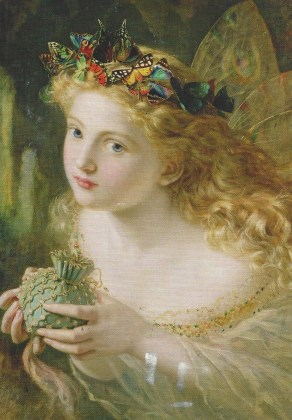 "From Eileen V. of Germany: Sophie Anderson (1823-1903). ""Take the fair face of woman, and gently suspending, with butterflies, flowers, and jewels attending, thus your fairy is made of most beautiful things,"" Charles Ede. The Maas Gallery, London/Bridgeman Images"