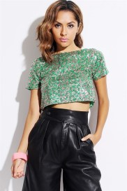 Pink and green sequin crop top and leather pants