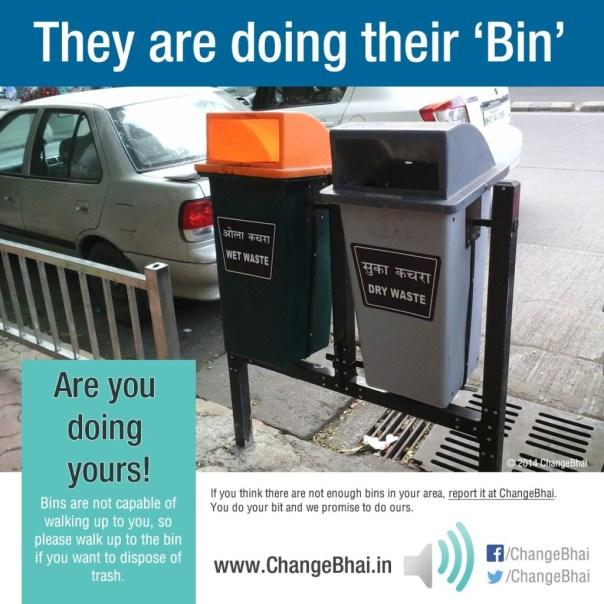 Trash bins in Mumbai