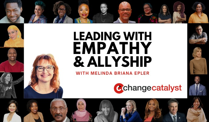 """""""Leading with Empathy & Allyship with Melinda Briana Epler"""" with headshots of our past diverse speakers."""