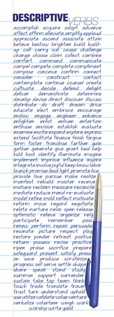 Descriptive Verbs Bookmark