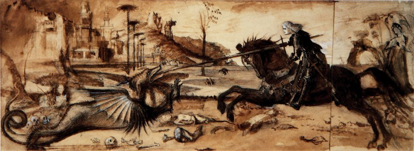 Very old picture of St. George on a horse spearing a dragon
