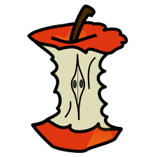 A Clipart Apple Core with red skin and what appear to be seed-eyes