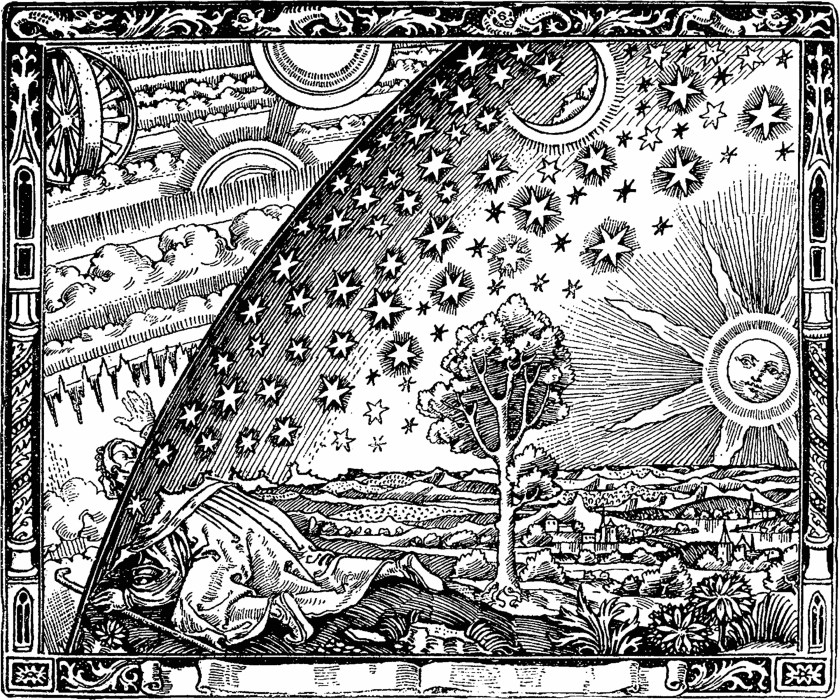Tile showing a man moving from earth into the celestial spheres