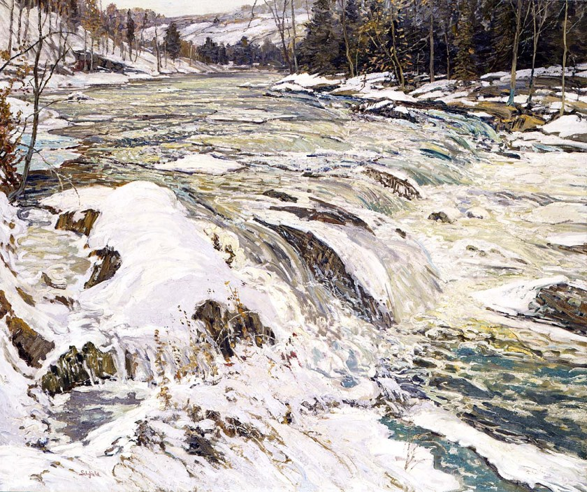 Painting of River Rapids in Winter