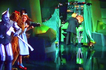 Wizard of Oz scene exposing the man behind the curtain