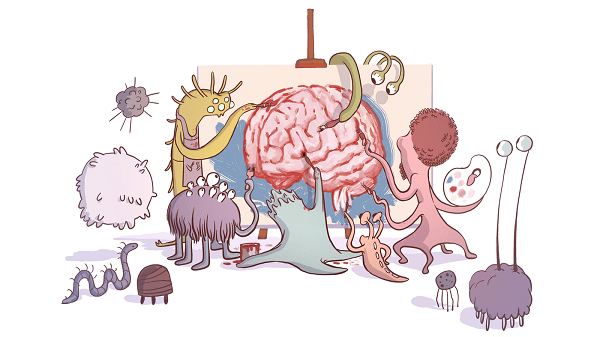 cartoon showing various gut bugs paiting a picture of a brain