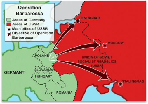 A map of Operation Barbarossa, the German Invasion of the Soviet Union in 1941