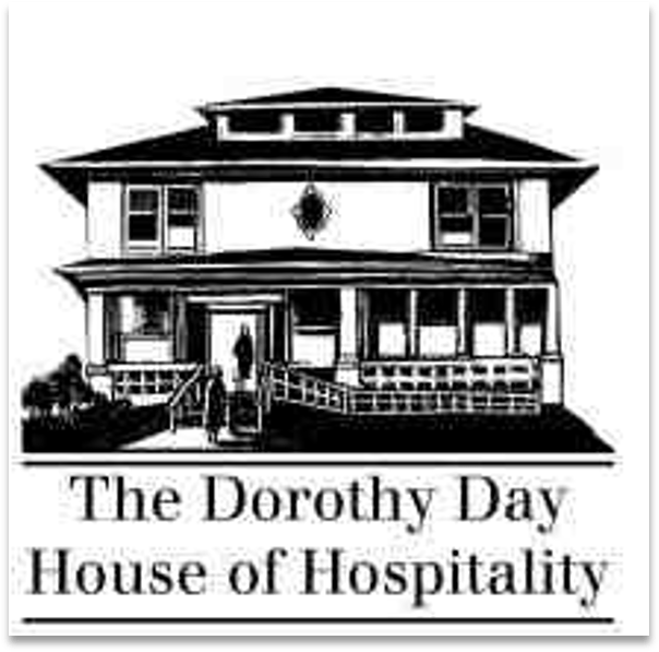 A woodcut of The Dorothy Day House of Hospitality complete with ramp.