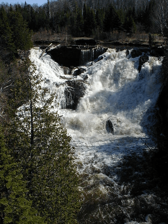 A Large powerful waterfall at Eagle River in Michigan's Upper Peninsula, as an example of a wild CAS