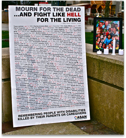 A poster listing many names of PWD killed by their parents or caregivers; entitled Mourn for the Dead and Fight Like Hell for the Living. From ASAN