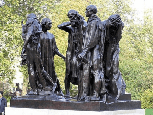 Rodin Statue of the Burghers in sackcloth and with ropes around their nects going to meetheir deaths to save their city.