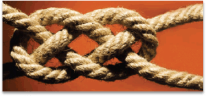 A stable three cord knot made of fiber light colored rope.