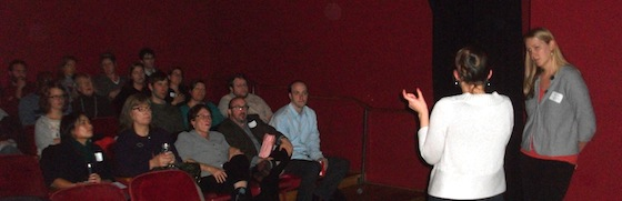 Anne from PROVAIL discusses her video with the audience at the Upstream Nonprofit Film Festival
