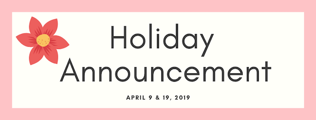 holiday announcement apr 9