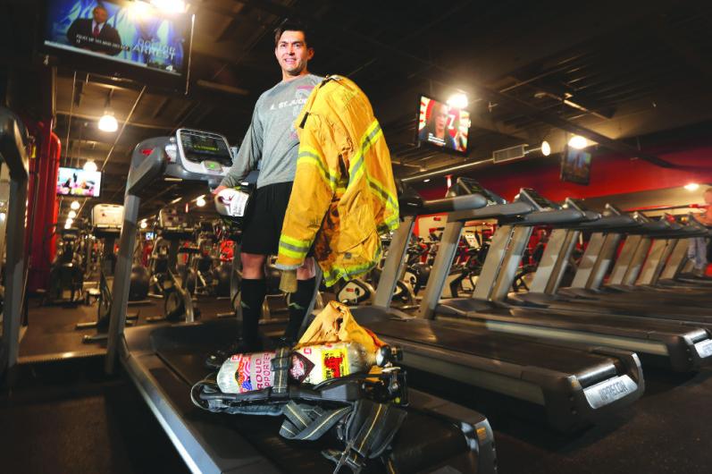 Jose Zambrano on a treadmill with his uniform.