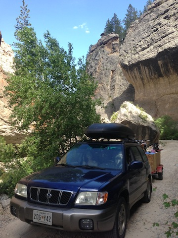 Detour through Crazy Woman Canyon in Wyoming's Elk Horn Mountains.