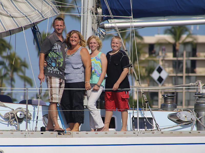 Our family on our boat in Kona, Hawaii