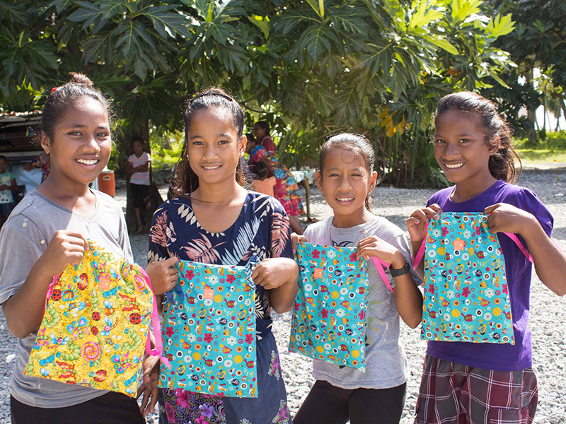 Young Marshallese girls with their Days for Girls gift