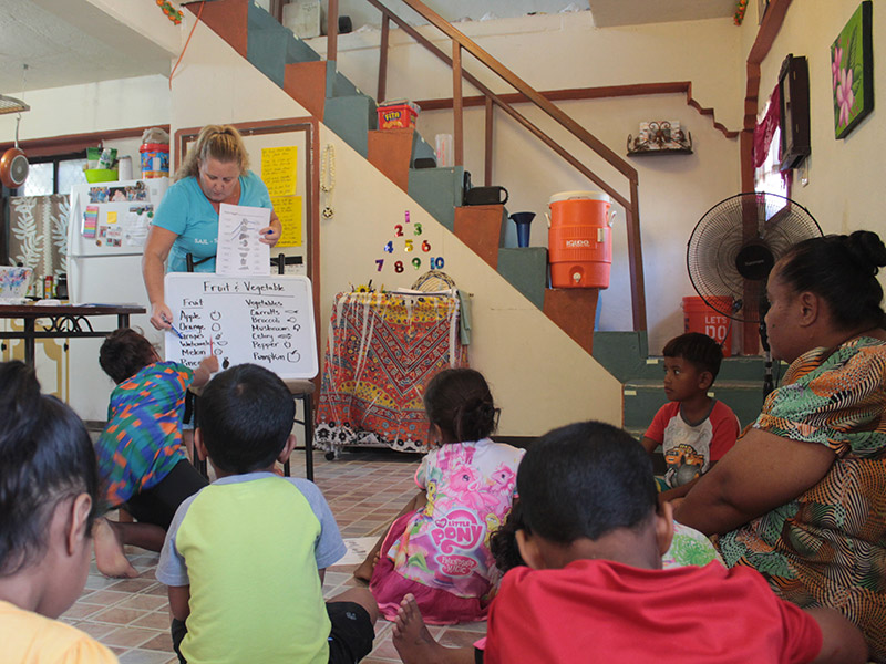 Katie teaching english to kids in Ebeye