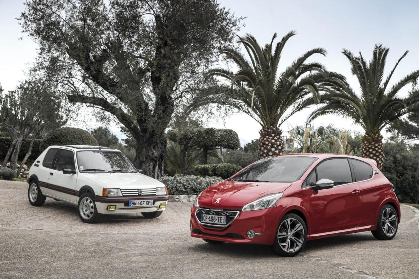 The iconic 205 GTi and the Peugeot 208 GTi