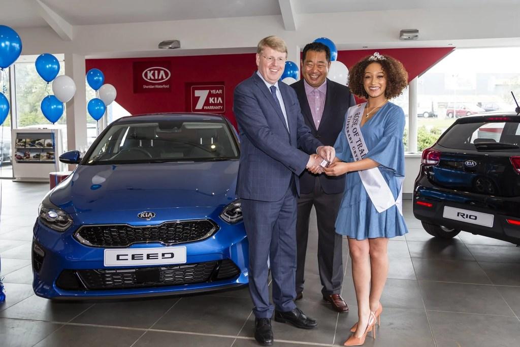 Kirsten Mate Maher, Rose of Tralee 2018, Woojai Kim, President, Kia Motors Ireland and Gerry Sheridan from Sheridan Motors.