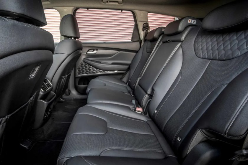Rear seating space in the Hyundai Santa Fe